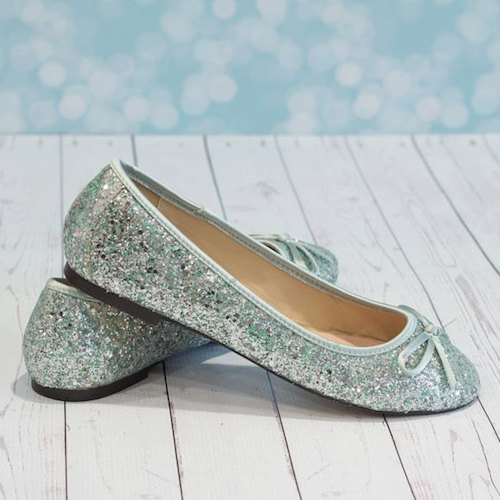 Aqua Blue Wedding Shoes Flat Glitter