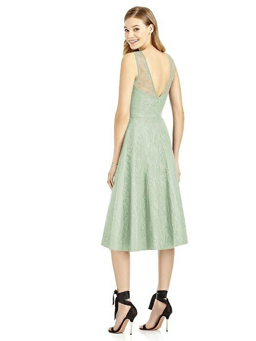 Celadon sleeveless florentine lace dress