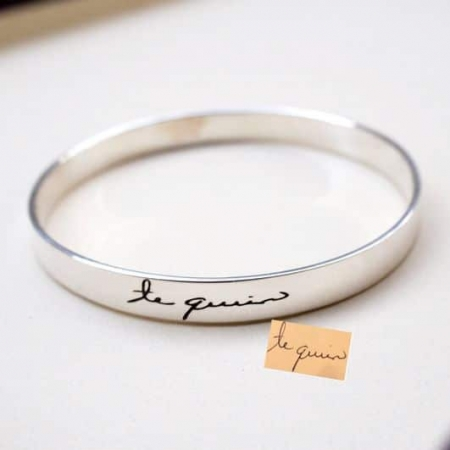 Handwriting Cuff Bracelet. Signature Engraved Bracelet. Bridesmaid Gift.