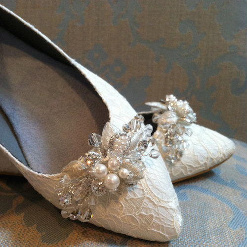 Lace Wedding Flats Crystal Pearl