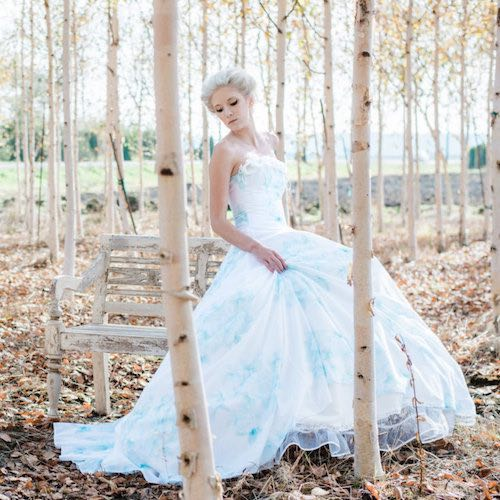 Romantic floral watercolor wedding dress