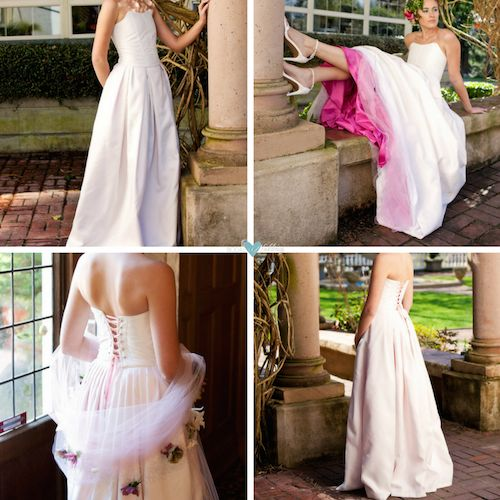 Two piece silk taffeta wedding dress