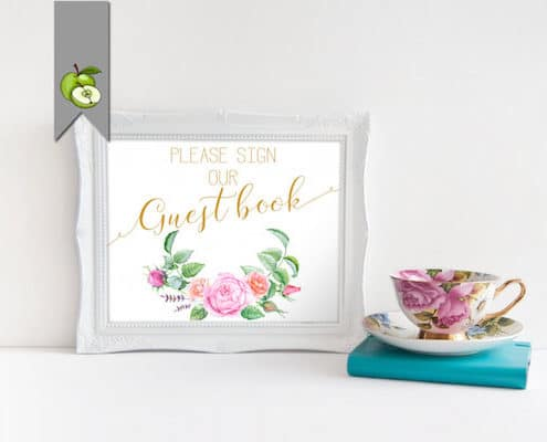 guestbook floral pink roses