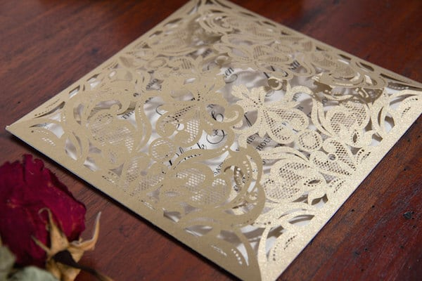 Laser cut victorian wedding invite