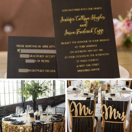 Invitaciones en Negro y Dorado| Foil-Stamped Black Gold Invitations