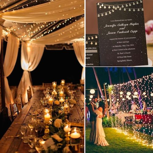 Starry sky wedding invitations with silver glitter string lights