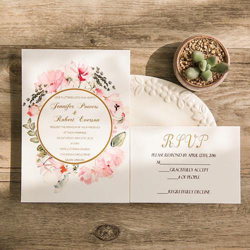 invitaciones en rosa y oro