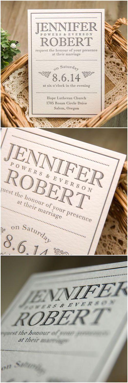 Nada mas clásico y elegante que una invitación en blanco y negro impresa en letterpress en papel super grueso (BYWLP004).
