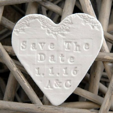 Personalized Save The Date Clay Wedding Magnets.