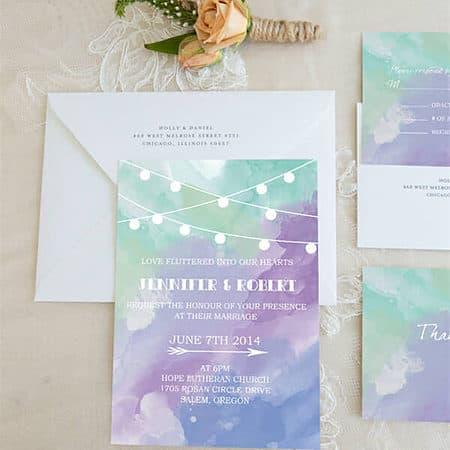romantic purple and blue watercolor wedding invitations BYWI370