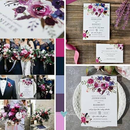 trending wedding invitations ultraviolet floral BYWI423