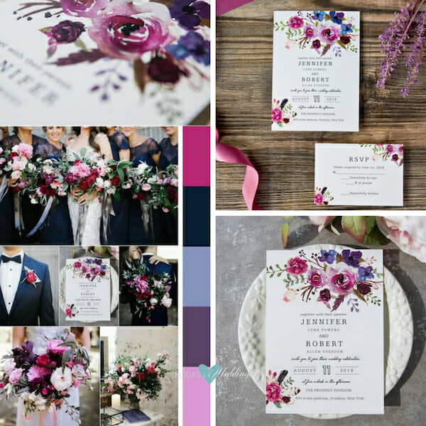 trending wedding invitations ultraviolet floral BYWI423